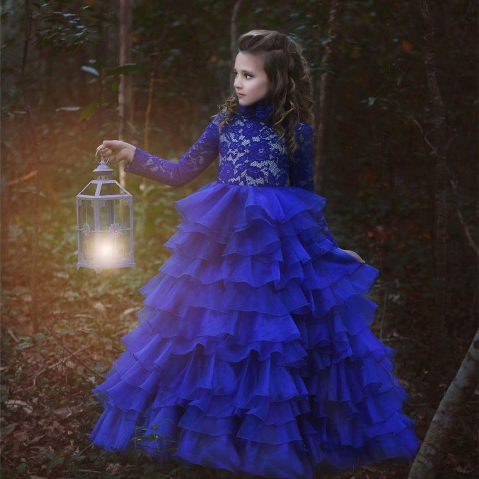 Royal Blue   Flower     Girl     Dresses   Royal Blue O Neck Long Sleeves Ball Gown Lace Appliques Kids Birthday   Dress   Pageant Gown Any Size