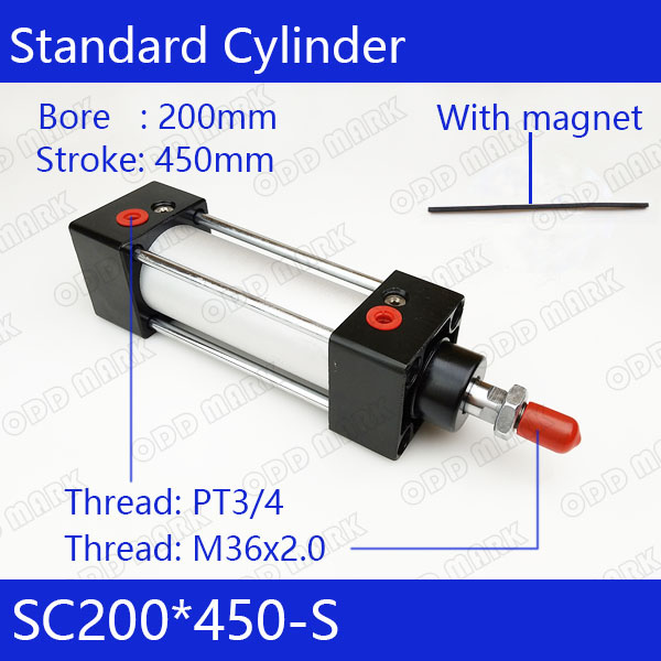 SC200*450-S 200mm Bore 450mm Stroke SC200X450-S SC Series Single Rod Standard Pneumatic Air Cylinder SC200-450-S sc200 300 200mm bore 300mm stroke sc200x300 sc series single rod standard pneumatic air cylinder sc200 300