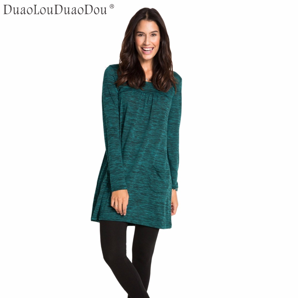Autumn Winter Models Fashion Women's <font><b>Dress</b></font> Leisure New Round Neck Long-sleeved Double Pocket <font><b>Dresses</b></font> With <font><b>Miscellaneous</b></font> Flowers