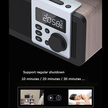 LEORY Remote Control Wooden Bluetooth Speaker Alarm Clock MP3 Player FM Radio TF USB Super Bass Speaker  2500mah Home Speaker