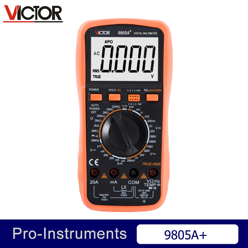Victor VC9805A+ True RMS 2000 Counts Manual Range Resistance Capacitance Inductance Frequency Temperature Digital Multimeter Nul true rms 2000 counts manual range 10a 600v resistance capacitance frequency students use victor digital multimeter vc205