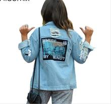 2017 Denim Jacket Women Print Where Is My Mind Bomber Jacket Appliques Streetwear Vintage Ripped Jeans Jacket