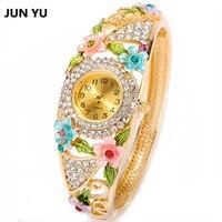 Junyu fashion women bracelet watch gold flower quartz wristwatches full rhinestones watch for women party .jpg 200x200