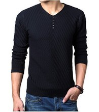 4XL 3XL Pullovers Sweater Men Blusa Masculina Pullover Men Sweaters Full Sleeve Solid Color V-Neck Pull Homme Plus Size 5 Colors