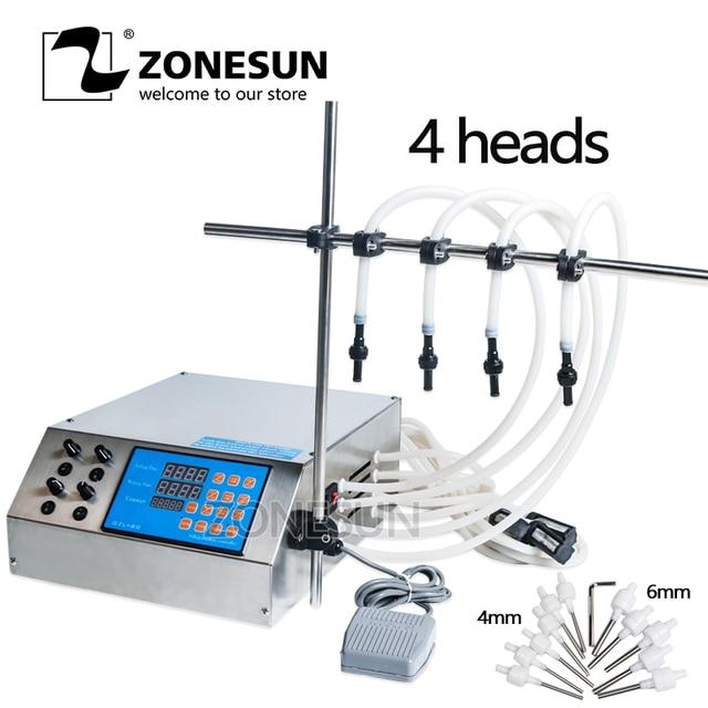 ZONESUN Filling Machine 4 Head Nozzle Liquid Perfume Water Juice Essential Oil Electric Digital Control Pump Liquid Filler