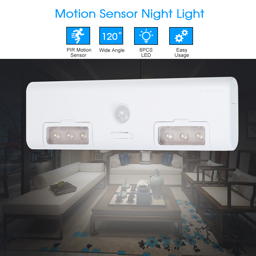 Pir Motion Sensor Led Cabinet Light 6leds Wall Lamp Light For Cupboard Kitchen Wardrobe Warehouse Battery-operated Access Control