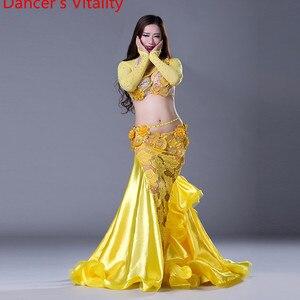 Image 5 - Lüks kızlar oryantal dans kostümleri uzun kollu sutyen + dantel etek 2 adet oryantal dans takım elbise kadın balo salonu dans seti dans elbise