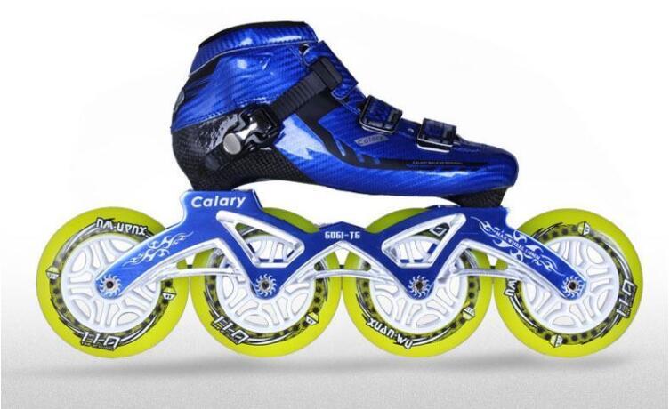 Patins à roulettes adultes professionnels XW Slalom/freinage/Patins à roues alignées simples Sports de plein air chaussures à roulettes 4 roues