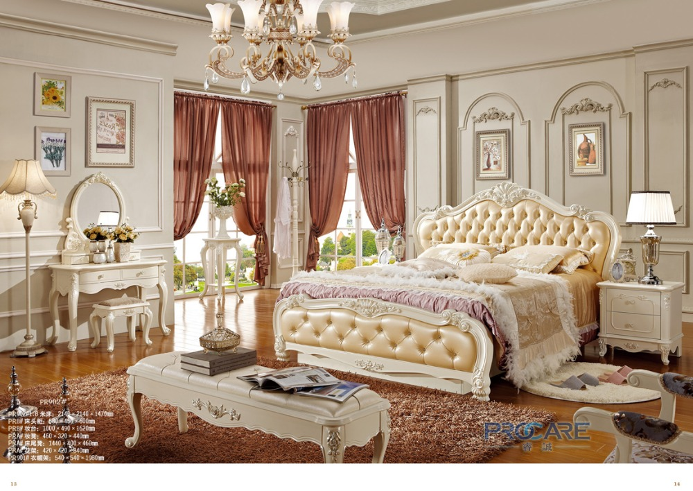Top Quality European Royal Style King Size Solid Wood Hand Carved Bedroom Furniture Set From Foshan Market 902