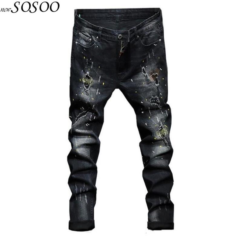 2018 新男性のジーンズをリッピング男性バイカージーンズヨーロッパやアメリカのスタイルスリムフィット高品質ファッション #1711  グループ上の メンズ服 からの ジーンズ の中 1