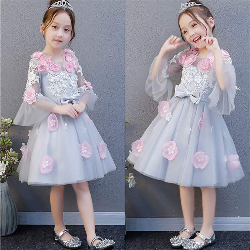 2018New Spring Children Girls Elegant Fashion Flowers Birthday Wedding Party Ball Gown Dress Baby Kids Holiday Party Dance Dress 2018 spring new children girls elegant fashion pink color flowers princess dress for birthday wedding party baby ball gown dress