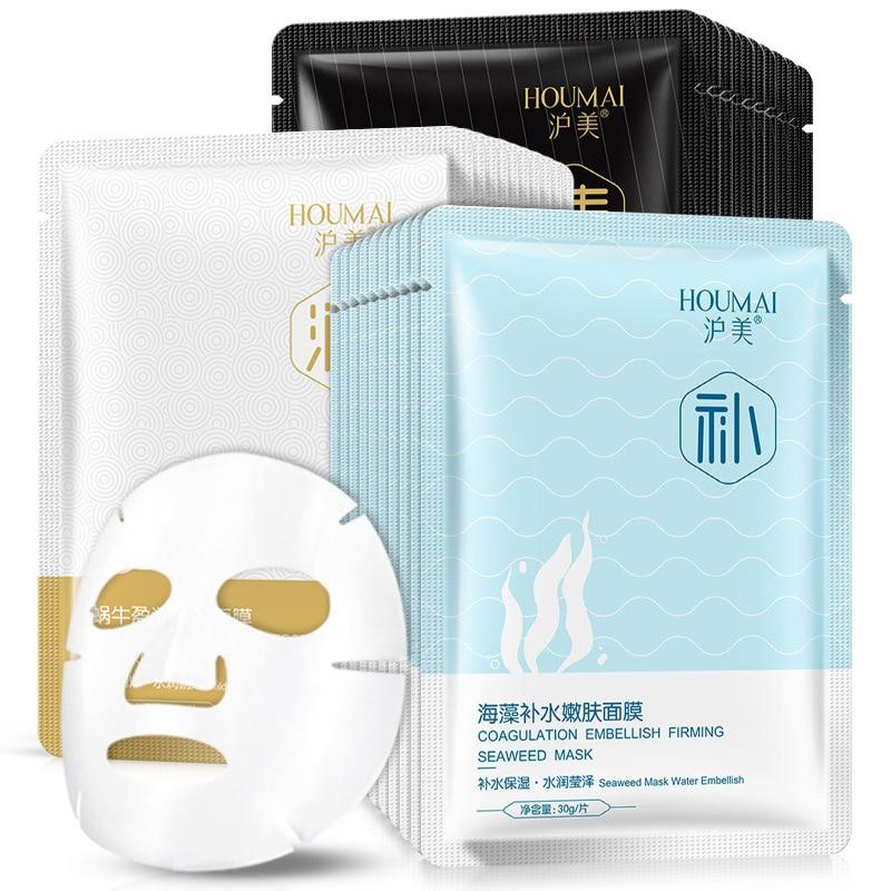 Algae Face Mask Snail Fabric Face Care Oxygen Sheet Mask Moisturizing Oil Control Brightening Skin Care Black Mask
