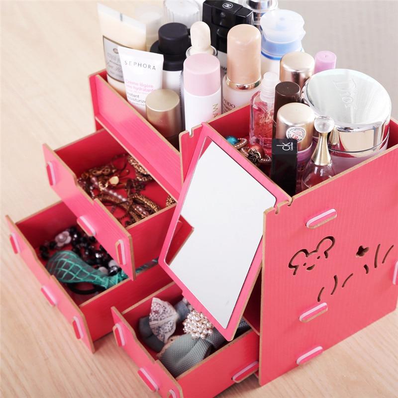 Decorative Cosmetic Wooden Stationery Box Jewelry ...