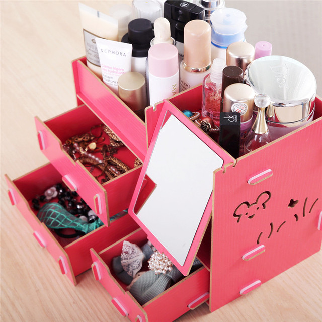 Decorative cosmetic wooden stationery box jewelry