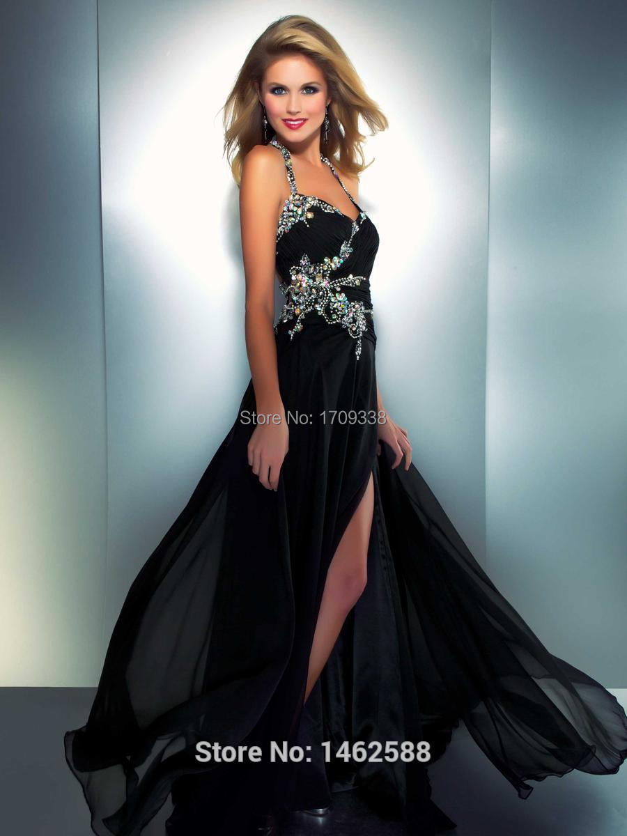 Neon Coral Black Chiffon Long Beaded Prom Dresses 2016 Hot Sale ...