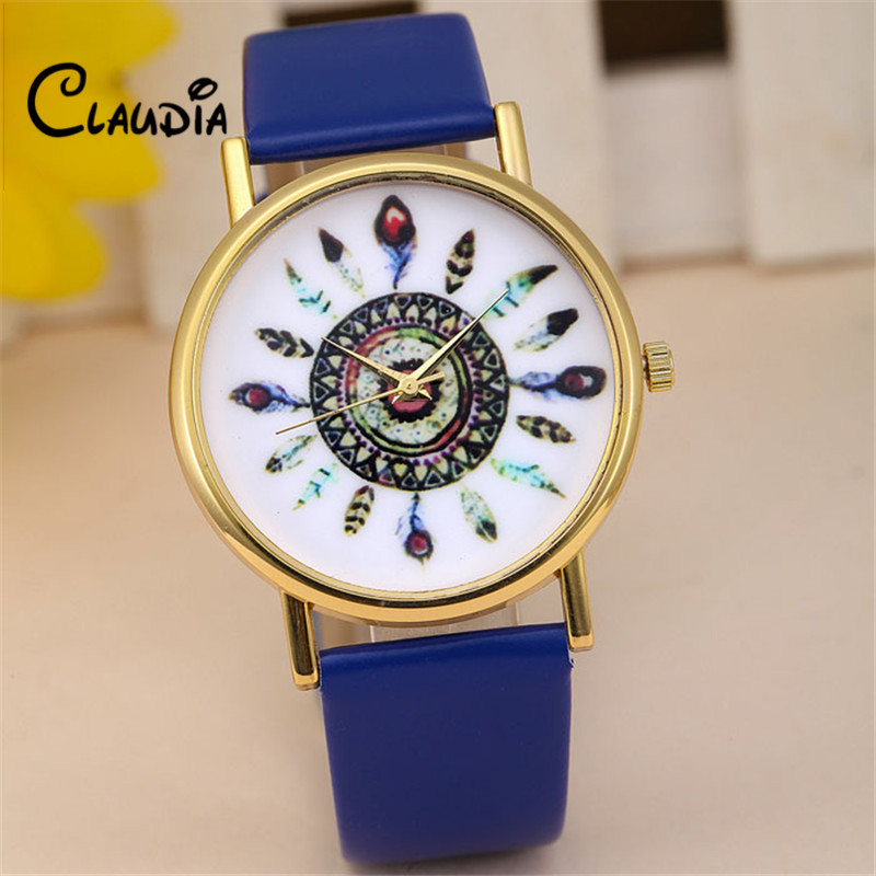 CLAUDIA New Fashion Women Fashion Vintage Feather Dial Leather Band Quartz Analog Wrist Watches Drop Shipping Relogio Feminino new fashion women retro digital dial leather band quartz analog wrist watch watches wholesale 7055