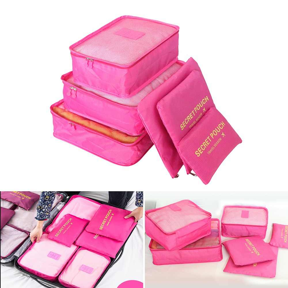 6pcs/set Waterproof Wardrobe Suitcase Pouch Portable Container Nylon Travel Storage Bag Organizer For Clothes Underwear Shoes