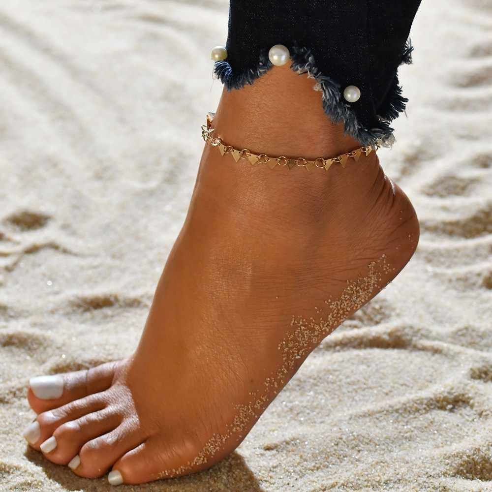 Terreau キャシー 2018 ボヘミアン手作り夏スタイルビーチ金と銀の色の三角形ジオメトリアンクレットフットチェーンアンクレット