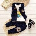 Muchachas Que Arropan La Historieta Minions Invierno Chaqueta Del Bebé + T Shirt + Pants 3 Unids Outfit Set Sport Boys Traje de Ropa Infantil conjunto