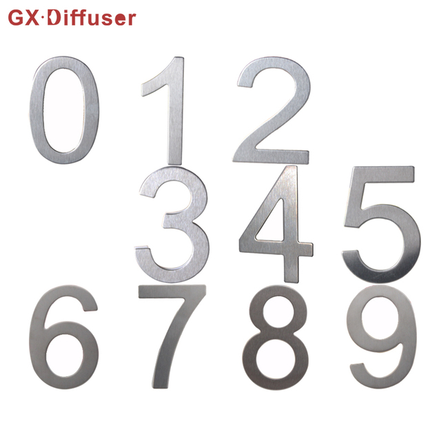 GX Diffuser Numbers House Door Number Plate Home Hotel Address Sign  Stainless Steel Apartment Doors Sticker