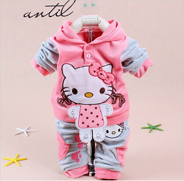 Clothing-Sets Pants Tracksuits Hoody Girl's Baby Fashion New Retail Casual Jackets Velvet