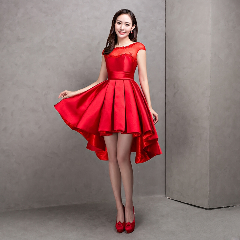 2016 Latest Evening Dresses Elegant A-Line Bride Gown Short Front Long Back Ball Prom Party Homecoming/Graduation Formal Dress