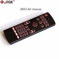 Jrgk 7 ألوان الخلفية الهواء الماوس mx3 المحمولة 2.4 جيجا هرتز اللاسلكي لوحة المفاتيح عالمي ir التعلم ل سمارت tv box pc