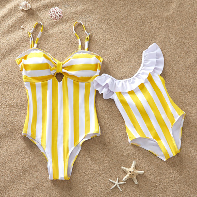 Striped Mother Daughter Swimwear One-Piece Mommy and Me Swimsuit Family Look Matching Outfits Mom Mum Daughter Dresses Clothes(China)