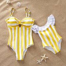 Полосатый купальник для мамы и дочки, Цельный купальник «Мама и я», одинаковые комплекты для всей семьи, платья для мамы, мама дочка, одежда
