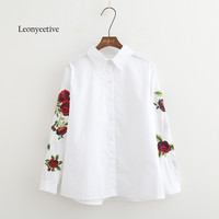Leonyeetive New 2017 Spring Summer Women Thin Shirt Cotton White Blouses Style Clothing Full Sleeve Ladies