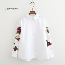 Leonyeetive New 2017 Spring Summer Women Thin Shirt Cotton White Blouses Style Clothing  Full Sleeve Ladies Floral Shirts