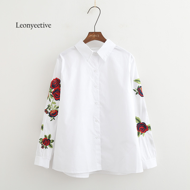 New 2017 Spring Summer Women Thin Shirt Cotton White Blouses Style Clothing Full Sleeve Ladies Floral Shirts oversize plus size