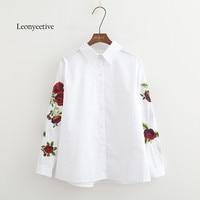 Leonyeetive New 2017 Spring Summer Women Thin Shirt Cotton White Blouses Style Clothing Full Sleeve Ladies