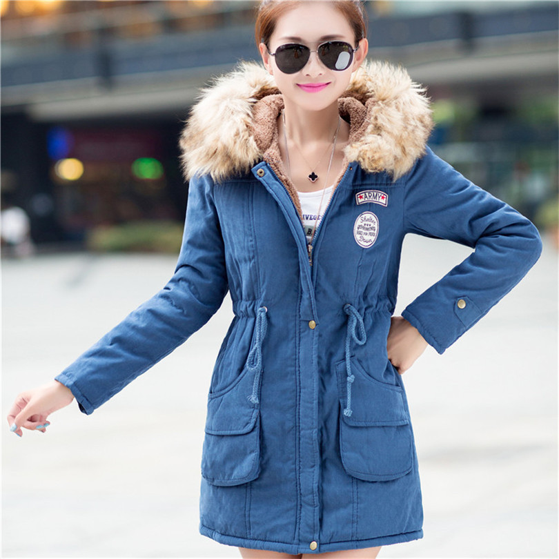 sheep velvet collar women Winter Hooded down jacket solid warm cotton 2016new thicken Plus Size In