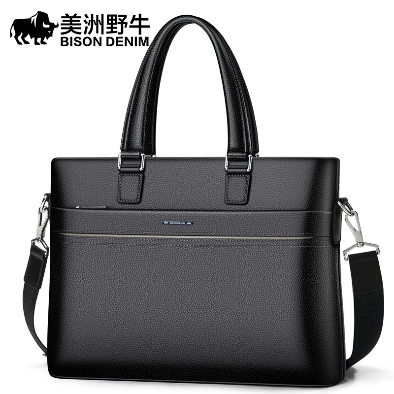 Brand BISON DENIM Men's Briefcases Men Shoulder Bags Brand Genuine Leather 15 inch Cowhide Messenger Bag Travel Tote Laptop Bag lacus jerry genuine cowhide leather men bag crossbody bags men s travel shoulder messenger bag tote laptop briefcases handbags