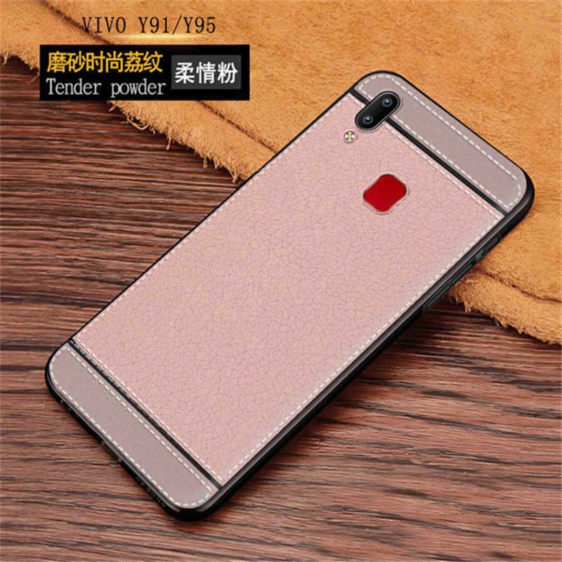For Vivo Y95 Y91 Case Leather Texture Soft TPU Phone Back Case Vivo Y95 Y91  Y91i V1807 Y 95 91 i VivoY91 VivoY95