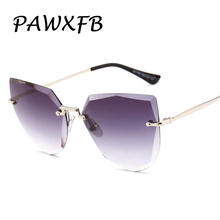 PAWXFB 2018 New High quality Cat Eye Sunglasses Women Men Metal Clear Gray Pink Blue pink Sun Glasses Retro Eyeglasses Shades