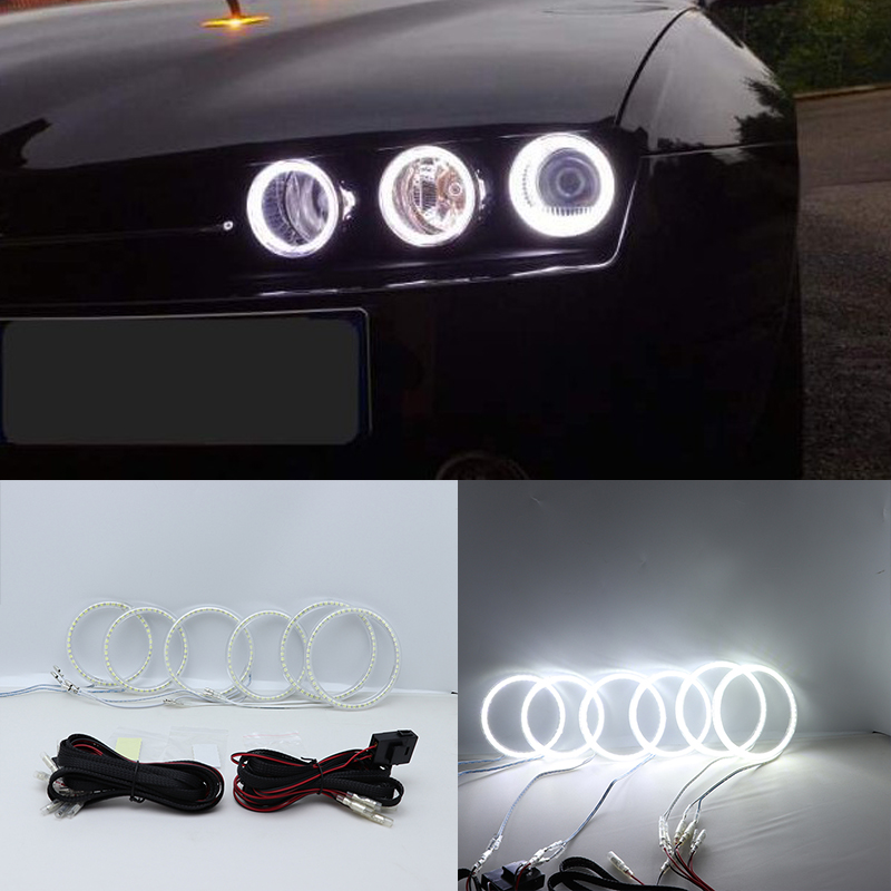 Super Bright White Color Light SMD LED Angel Eyes daytime running light DRL for Alfa Romeo 159 2005-2011 Car Styling 2pcs 24 leds smd 7030 drl daytime running light for audi a3 a4 q7 etc super bright waterproof led strip car styling accessories
