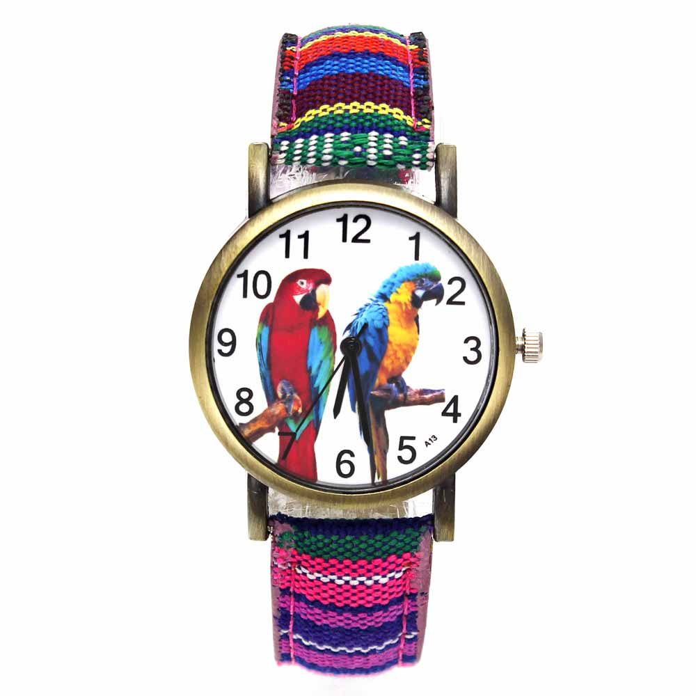 Colorful 2 Parrot Pet Bird Animal Watches Parakeet Budgie Cockatiel Macaw Men Women Watch Fashion Stripes Denim Wristwatch