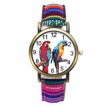 Купить с кэшбэком Colorful 2 Parrot Pet Bird Animal Watches Parakeet Budgie Cockatiel Macaw Men Women Watch Fashion Stripes Denim Wristwatch