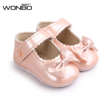 цена на Autumn Soft Sole Girl Baby Shoes PU First Walkers Baby Girl Butterfly-knot Shoes 0-18 Months Baby Moccasins Shoe