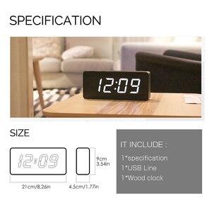 Image 5 - Цифровые часы JINSUN, деревянный светодиодный Будильник, современный квадратный телефон с датчиком температуры и голосовым управлением