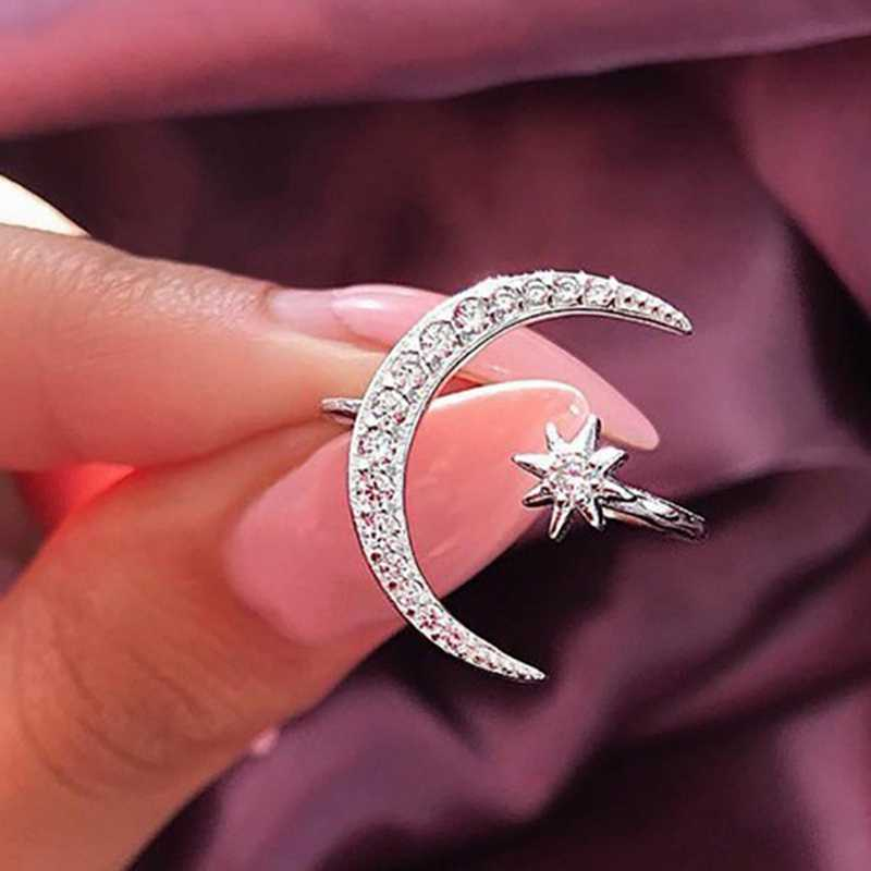 Hot Sell New Fashion  Crescent Moon And Tiny Star Open Rings For Women  Ring Jewelry  Birthday Gifts Valentine's Day  Gift