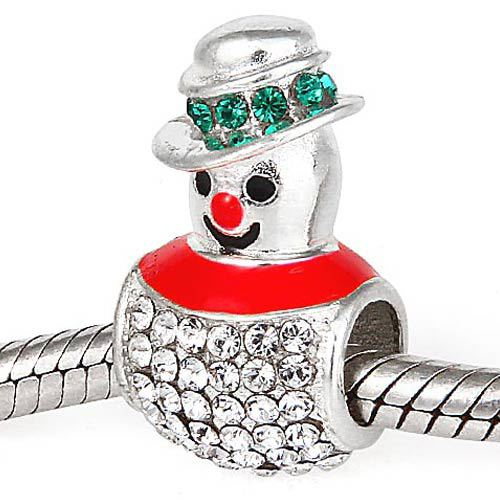 100% 925 sterling silver beads Christmas Snowman charms with clear cubic zirconia Fit for pandora charm bracelet SR2759