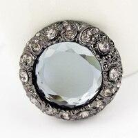 Fur Cotton Padded Clothes Scarves Decoration Retro Super Glass Stone Metal Buttons Big Button 38 Mm
