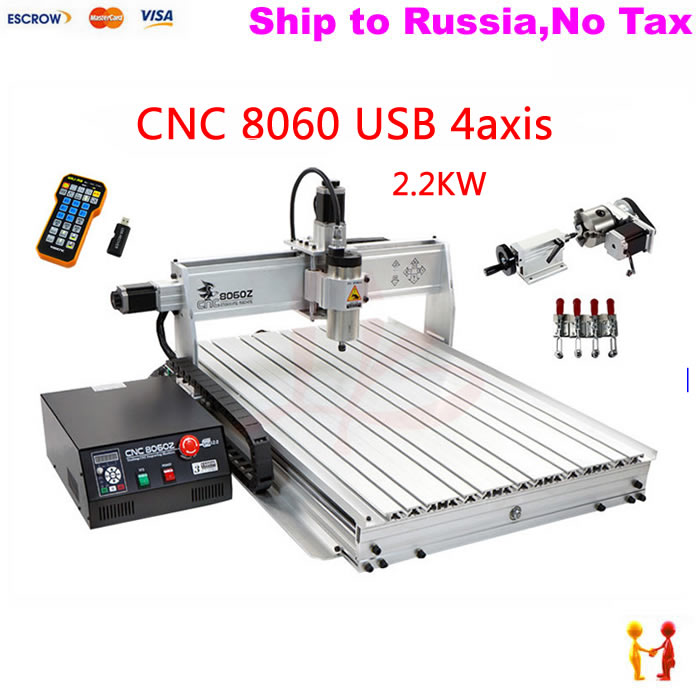 (NO TAX TO Russia) 4axis cnc metal engraving machine 8060 rotary axis 2.2KW spindle Ball screw wtih Mach3 remote control no tax to russia miniature precision bench drill tapping tooth machine er11 cnc machinery