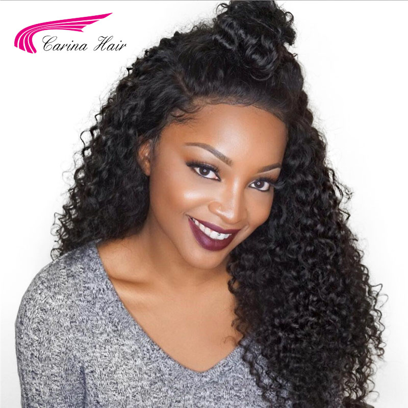 Carina Hair Brazilian Kinky Curly Lace Front Wigs with Baby Hair Pre Plucked Hairline 150 Density