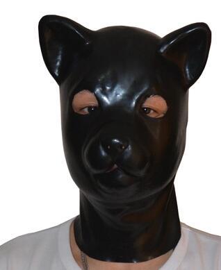(LH4) fétiche Latex naturel pleine tête latex chat cochon chien léopard tête esclave masque en caoutchouc capuche SM masque étouffant fétiche porter