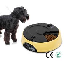 Ortilerri 6 еды смарт-автоматической подачи домашних животных ЖК-дисплей Дисплей кота собаки Еда диспенсер приурочен Регистраторы чаша Еда напоминание кошка подачи