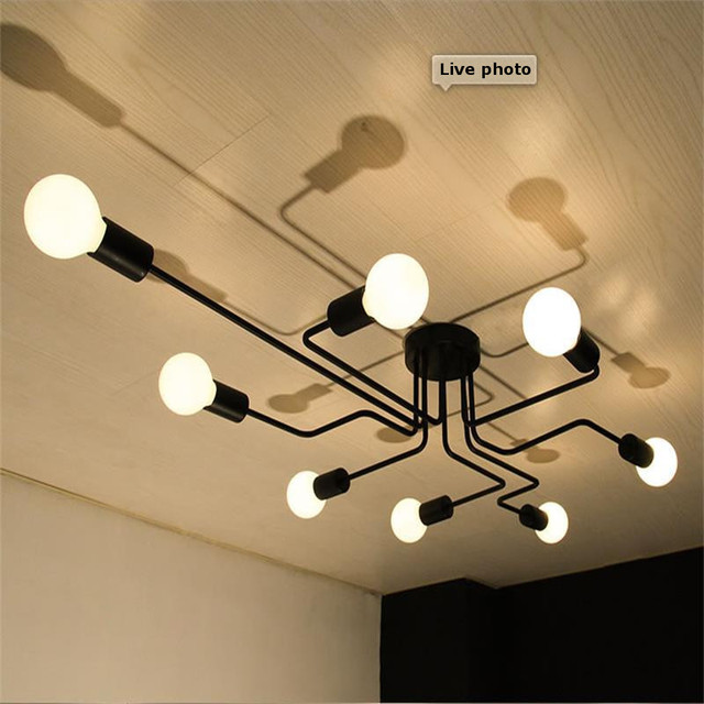 Multiple Rod metal chandelier Vintage Iron Ceiling Lamp Edison E27 Bulb Lamparas for Home Lighting Fixture Nordic Kitchen island 2